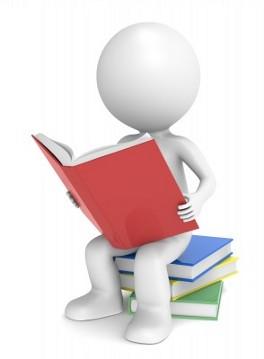 Человечек читает на стопке книг